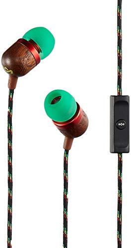 House of Marley Smile Jamaica Auricolari Inear con Microfono, Driver 9mm Design ad Isolamento Acustico, Nero/Legno/Verde