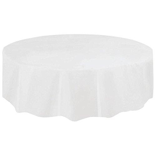beiguoxia PEVA-Einweg-Tischdecke, rund mit beständiger Farbe, wasserdicht, Party-Tischdecke Einheitsgröße weiß