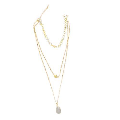 Handgefertigte runde Paillettenkette mit mehrschichtiger Halskette Friedenstaube Vogel Tropfenanhänger YunYoud silberschmuck damenschmuck günstig Enge mondstein