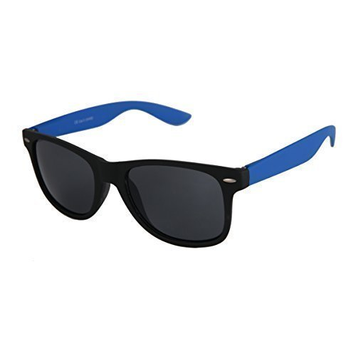 Hochwertige Nerd Sonnenbrille Rubber im Wayfarer Stil Retro Vintage Unisex Brille mit Federscharnier - 96 verschiedene Farben/Modelle wählbar (Blau/Schwarz - (Nerds Outfits)