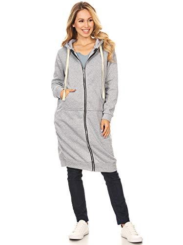 Anna-Kaci Damen Oversized Long Zip Up Hoodie Sweater Sweatshirt Kleid Jacke Gr. XX-Large, grau