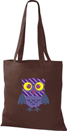 ShirtInStyle Jute Stoffbeutel Bunte Eule niedliche Tragetasche mit Punkte Karos streifen Owl Retro diverse Farbe, schwarz braun