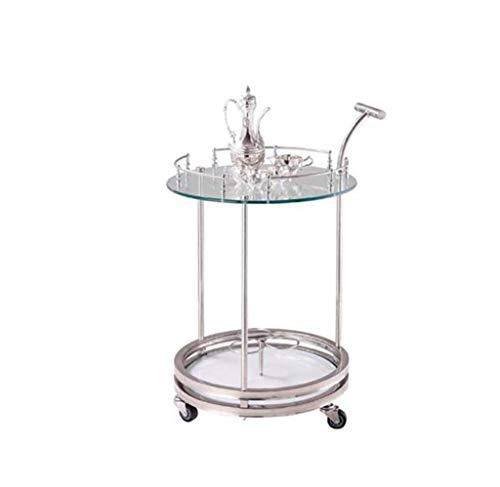 MYMAO Hotel Restaurant Stainless Steel Service Cart, Send Dining Cart Doppel-Schicht-Holz Wein-Wagen Multi-Funktion Trolley,Glass (Restaurant, Cart)