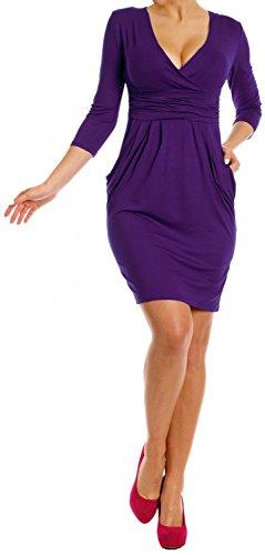 Zeta Ville - Robe poches manches 3/4 décolleté en V Taille 38-48 - Femme - 236z Pourpre