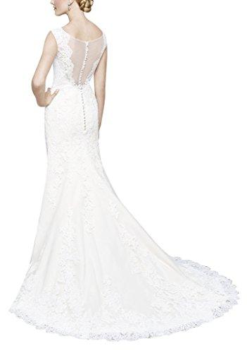 GEORGE BRIDE Reizvolle elegante suesse Spitze Rundhals aermelloses Brautkleid Elfenbein