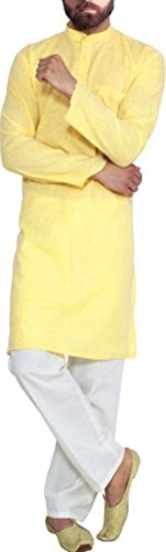 Cafley Men's Yellow Cotton Linen Kurta
