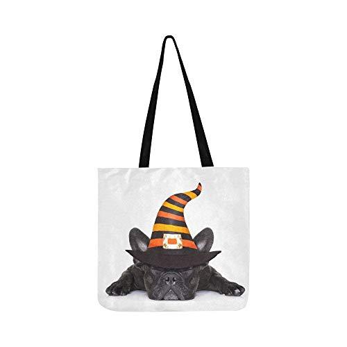 Halloween Devil Französisch Bulldog Dog Angst Leinwand Tote Handtasche Umhängetasche Crossbody Taschen Geldbörsen Für Männer Und Frauen ()