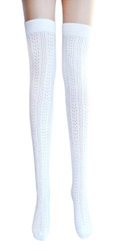 JHosiery Damen weißen Oberschenkel hohe Pointelle Baumwollstrümpfe (1 Paar Streifen)