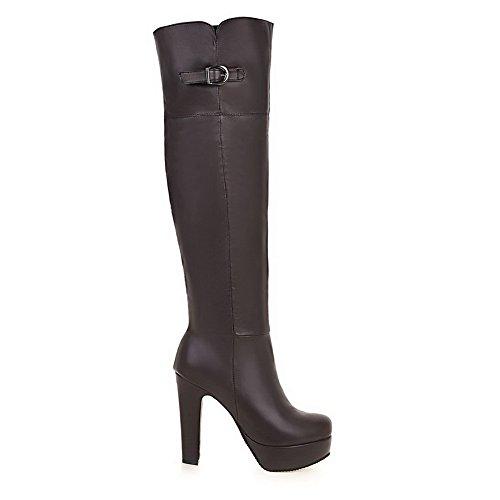 VogueZone009 Damen Reißverschluss Schließen Zehe Rein Metallisch Stiefel, Rot, 34