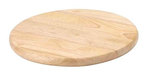 Continenta Schneidebrett aus Gummibaumholz, universal einsetzbares Küchenbrett, Hackbrett, Gemüsebrett, rund, Größe: Ø 25 x 1,8 cm