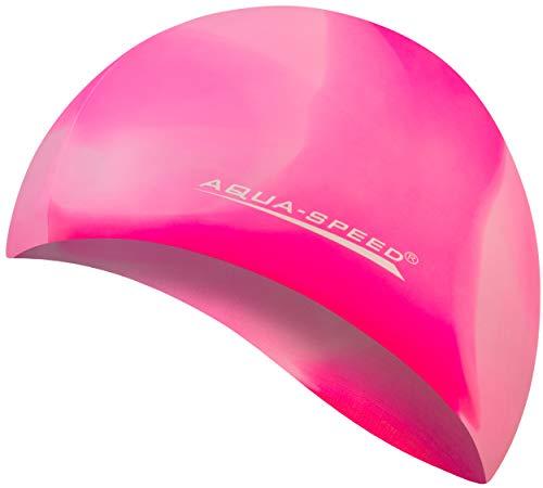 Aqua Speed® Set - BUNT Badekappe + Kleines Mikrofaser Handtuch | Silikon | Bademütze | Badehaube | Schwimmhaube | Erwachsene | Damen | Herren | Kinder, Kappen Designs:13. Bunt / 99