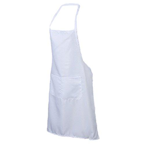 Nunubee Unisexe Tabliers Bib de Polyester Tablier de BBQ Vêtements de Travail Avec Poche Avant, Blanc