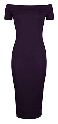 Fast Fashion - Robe De Midi De Chapeau Manchons Épaule Off Plaine Stretchy - Femmes Violet