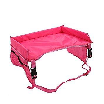 Asiento de coche de mesa impermeable niños bandeja, bandeja de juego de viaje para niños, Kids niños asiento de coche Buggy carrito de almacenamiento de aperitivos bandeja de regazo rojo rosso