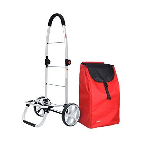 CXD Zusammenklappbarer Einkaufswagen Tragbarer Faltbarer Gepäckrollen-Einkaufswagen-2-Rad-Großraumkäufer, rot