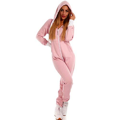 6a417eb56b Crazy Age Basic Jumpsuits Ganzkörperanzug Einteiler One Piece Schlafanzug  Overall Damen Jumpsuit Kuschelig und warm (S, Rosa)
