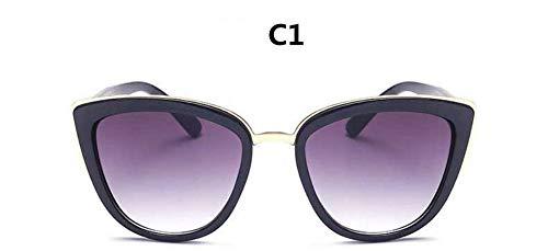 WDDYYBF Sonnenbrillen, Cat Eye Vintage Sonnenbrille Frauen Retro Sonnenbrille Damen Schwarze Brillen Weiblichen Uv 400 Schwarz Rahmen Gold Rim Lila Objektiv