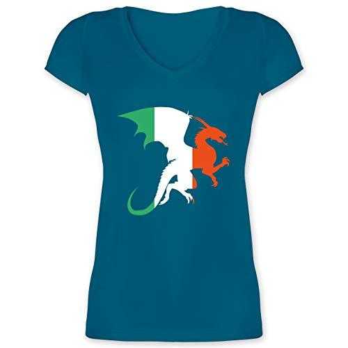 Elf Irland Kostüm - St. Patricks Day - Drache Irland - XXL - Türkis - XO1525 - Damen T-Shirt mit V-Ausschnitt