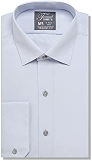 Luxe Microfiber Mens Regular Fit Solid Dress Shirt, Spread Collar - Style Denny