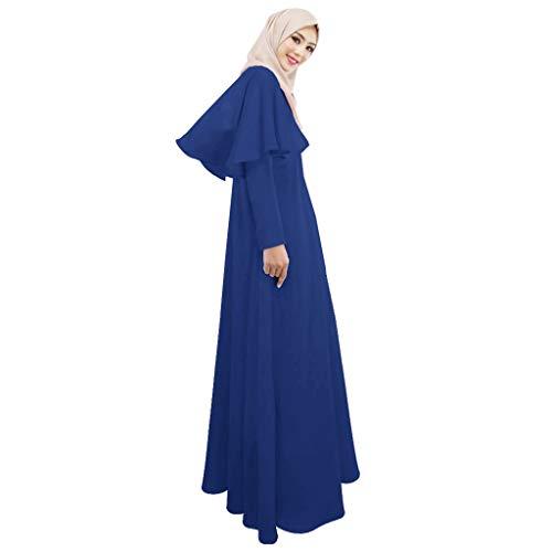 he Kleider,Elegante Muslimisches Bescheidenes Maxikleid Abaya Dubai Übergröße Lange Robe Abendkleid Hochzeit Abaya Festlich Partykleid (XL,Blau) ()