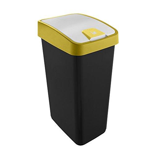 keeeper Premium Abfallbehälter mit Flip-Deckel, Soft Touch, 45 l, Magne, Gelb