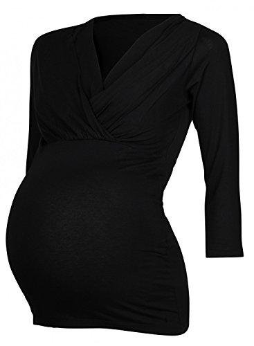Happy Mama Femme Top 2in1 de maternité. T-shirt chemisier d'allaitement. 618p Noir