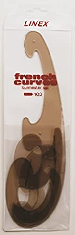 Linex College French Curve Set Burmester Bevelled Edge 3 Piece Tinted Brown Ref LXO103