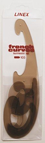 Linex LXO103 Burmester - Curvígrafos (cantos achaflanados, 3 piezas, tintados), color marrón