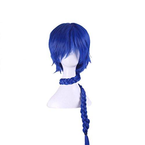 Photo Pal 80cm Cosplay Perruque Femme Longue Bleu Cheveux Synthétiques Halloween Soirée Déguisement