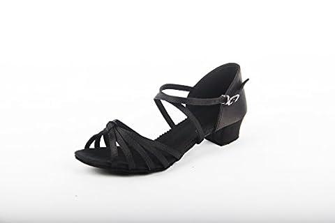 DIKE Brand Women's/Kids' Dance Shoes Latin/Ballroom/Salsa Sandals Satin Knot Buckle Low Heel Size 36 2/3EU Black