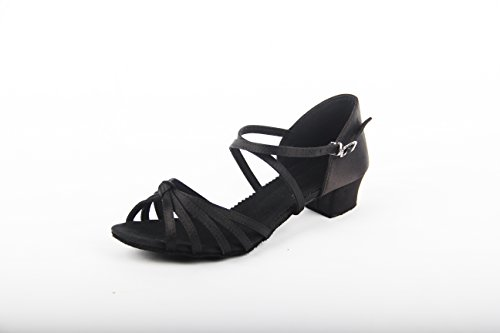 dike-brand-womens-kids-dance-shoes-latin-ballroom-salsa-sandals-satin-knot-buckle-low-heel-size-36eu