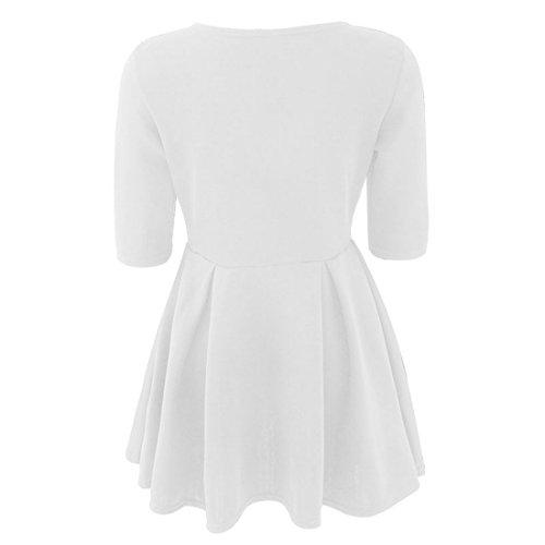 Vertvie Femme Mini Robe Slim Automne à Demi-Manches Dress Plissé Swing Blanc