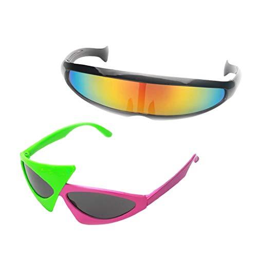 Fenteer 2er Pack Alien-Partybrille Roy Purdy Sonnenbrille Funbrille Rollenspiel Cosplay Kostüm