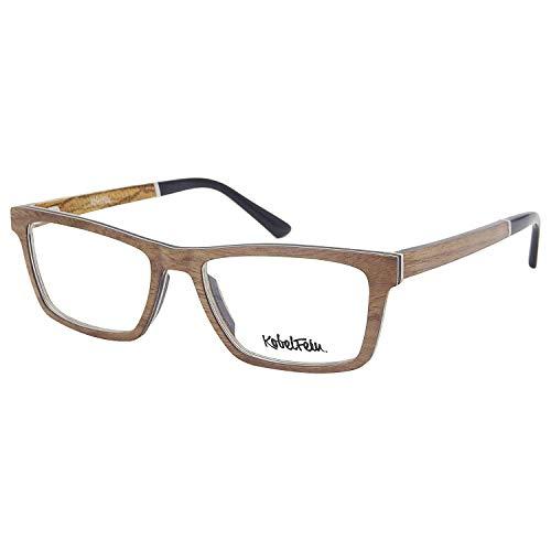 KobelFein Brillengestelle Holz-Brille Herren Damen inkl. Brillenetui Bambus (natural)