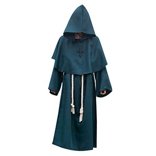 Kostüm Green Mann - LARRY-X Halloween Cosplay Pastor Uniform Komfortable 6 Farben Dicke Mittelalterliche Mit Kapuze Robe Kostüm für Männer und Frauen