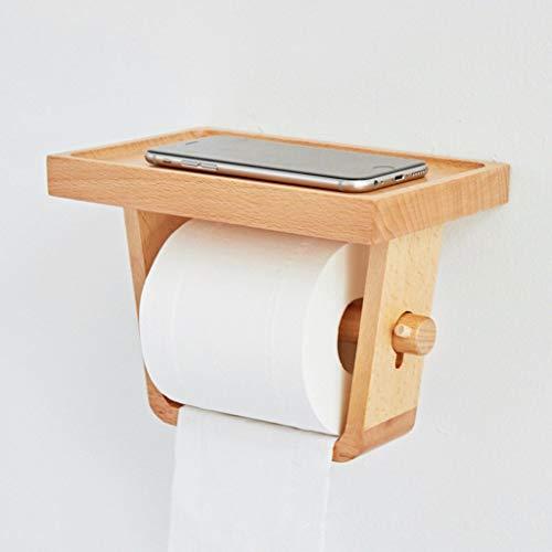 O&YQ Regenschirm Lagerregal Bad Papierrolle Rohr Haushalt Toilettenpapier Handtuchhalter mit Handy Rack Wand Massivholz Bad Papierhandtuchhalter Holz Farbe