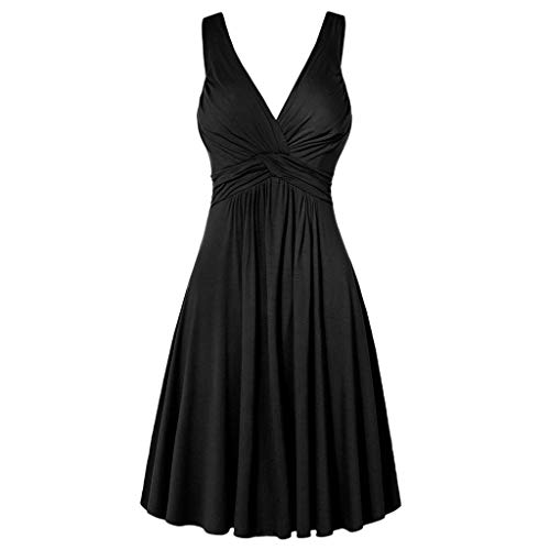 BHYDRY Frauen Plus Size V-Ausschnitt Retro Sling Plissee Slim Flare Rock Kleid