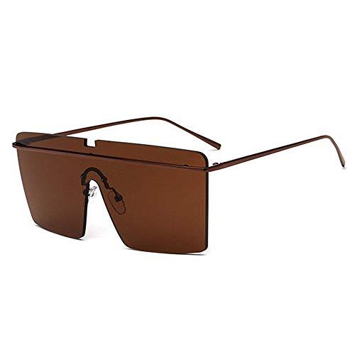 XHCP Frauen Polarisierte Klassische Pilotenbrille, Übergroße Große Quadratische Rahmenlose Unisex Sonnenbrille Farbige Linse UV400 Schutz Fahren Strand Sommerurlaub (Farbe: Braun)