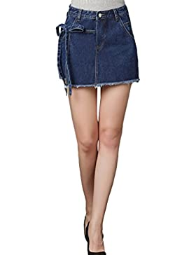Sentao Estate Donna Vintage Jeans Shorts Gonna Denim Hot Pants Pantaloncini Corti