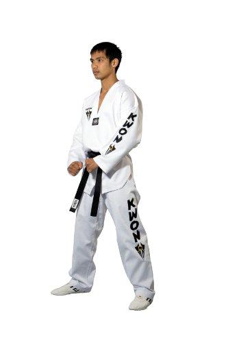 Kwon Kampfsportanzug Taekwondo Starfighter Weißes Revers, weiß, 160, 1006160 (Kwon Gürtel Do Tae)