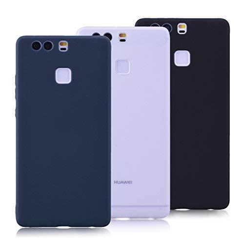 Yokata Cover per Huawei P9, Silicone Cover Morbido TPU Gomma Custodia Ultra Sottile Bumper Anti-Urto Anti-graffio Antiscivolo Protezione Caso [3 Pack] - Nero, Scuro Blu, Bianco