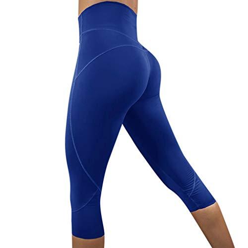 AMhomely Damen Volltonfarbe High Waist Leggings Yoga Kurze Hose Yogahose Laufhose Workout