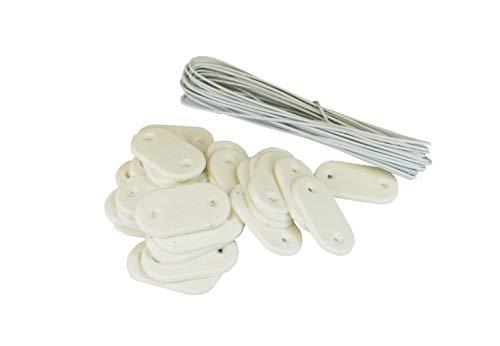 MAILLESTORE Kit de Fixation Brise-Vue - Lot de 20 Kits (26 pastilles + 4m de Fil par kit) Blanc Lot de 20 Kits
