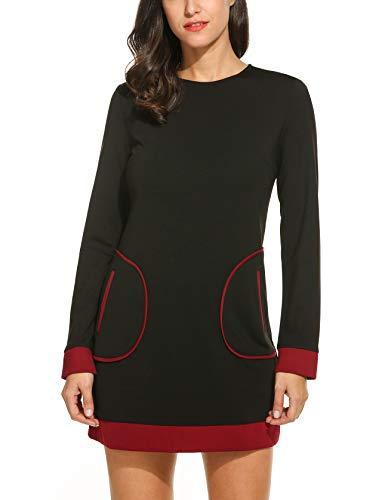 Bricnat Damen Patchwork Kleid mit Taschen Langarm Lange Sweatshirt Pullover Minikleid Sweaterkleid Shirtkleid Tunika Winterkleid Herbst Weinrot S