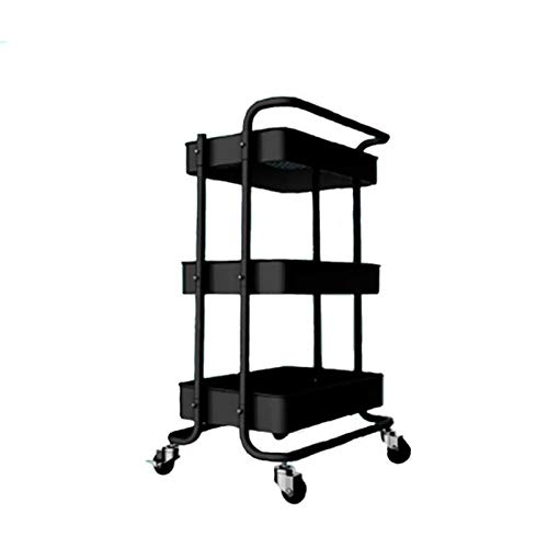 TBANG Mobile Lagerung Warenkorb Multifunktionale Lagerung Warenkorb Küche Bad Wohnzimmer Metall LKW 45,9 * 34 * 76,4 cm (Color : Black) -