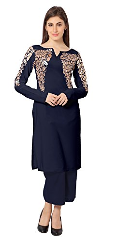 AHALYAA-Blue-Colored-Full-Sleeve-And-Sweetheart-Neck-Faux-CrepeFoil-Kurti