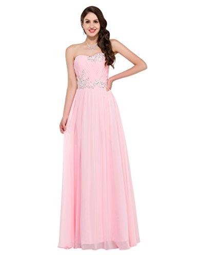 damen abendkleider ballkleider lang chiffon trägerlos partykleider cocktailkleider rosa Größe 42 CL6107-2