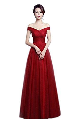 Gorgeous Bride Schlicht Träger A-Linie Tüll Schnürung Abendkleider Lang Cocktailkleider Ballkleider Lang Weinrot
