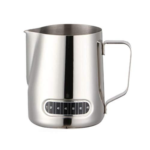 Espresso Dampfende Milch (Milchschaumkrug mit Thermometer 20Oz Haltbar Leicht zu Gießen Tragbarer Espresso-Dampfschaumbecher für Espressomaschinen)
