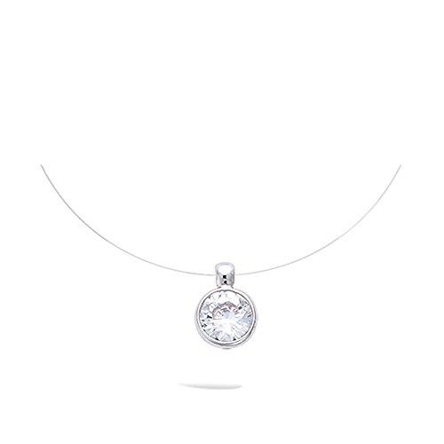 Damen-Halskette aus Nylonband, Anhänger aus Silber 925/000,rhodiniert, mit rundem Zirkonia-Solitär, 6mm (Kette Nylon)